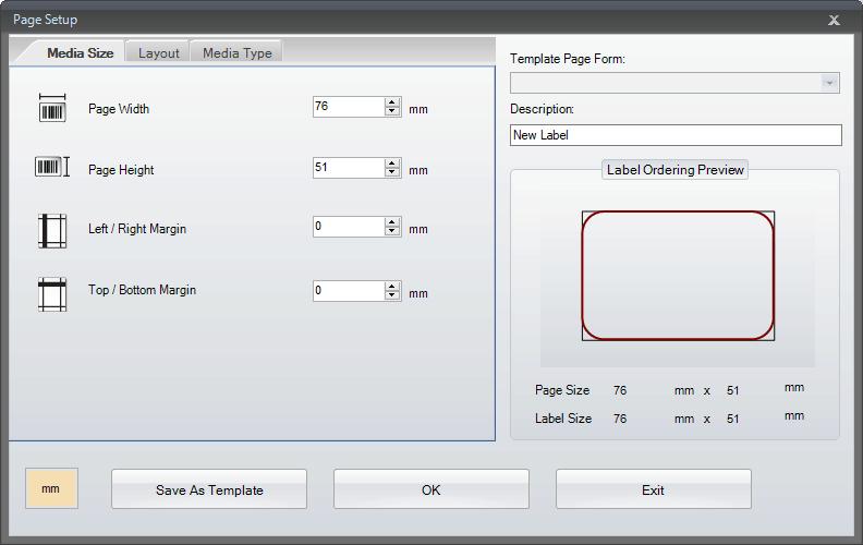 Go Label Page Setup